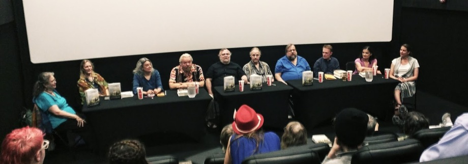 The Change anthology participants at the Violet Crown Cinema. S.M. Stirling fifth from left.